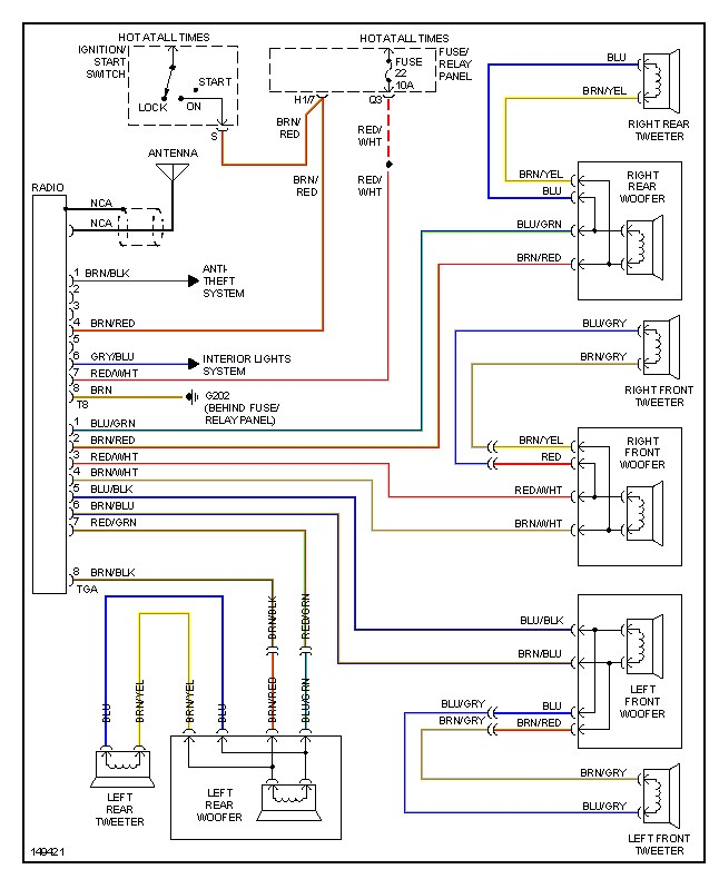 dan's vw page toyota 4runner wiring diagram wire diagrams 98 and up base radio*